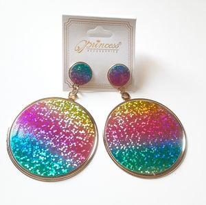 Princess Accessories Jewelry - Glittery Rainbow Circles Earrings